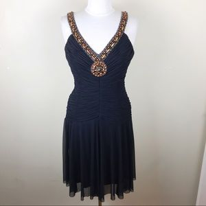 Sue Wong Black Beaded Pleated Cocktail Dress 8